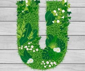 Blooming grass letter U shape vector