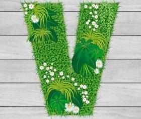 Blooming grass letter V shape vector