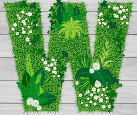 Blooming grass letter W shape vector