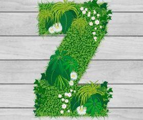Blooming grass letter Z shape vector