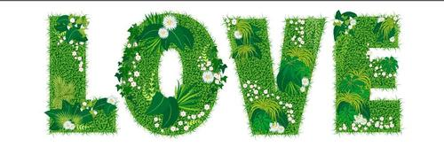 Blooming grass love font style vector