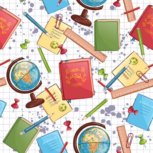 Book and globe background vector
