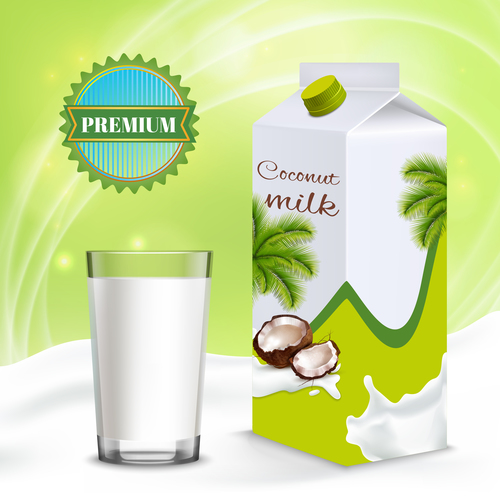 Box packaging coconut milk poster vector