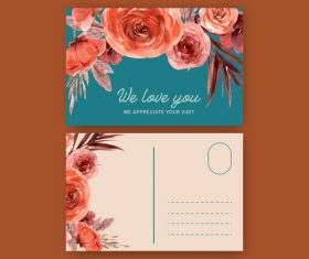 Bright-colored floral decoration postcard cover vector