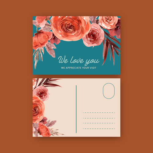 Bright colored floral decoration postcard cover vector