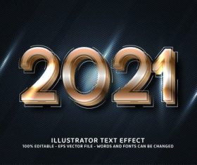 Brown 2021 editable font effect text vector