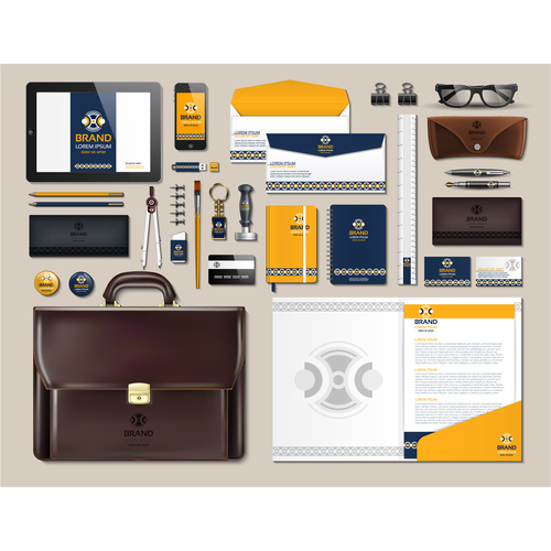 Brown business suit stationery vector