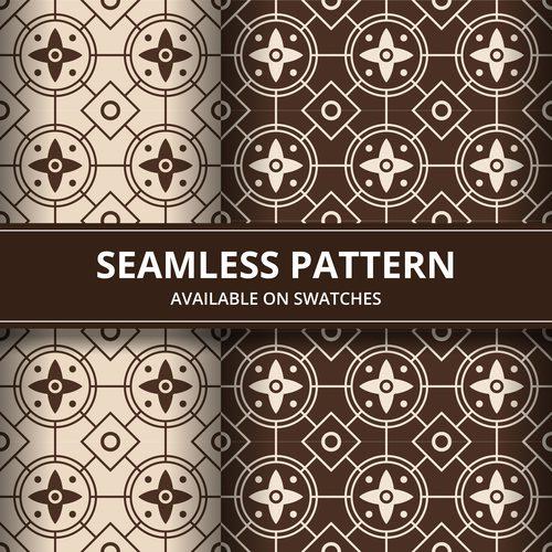 Brown seamless batik pattern vector