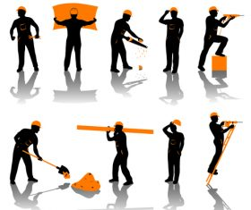 Builder worker silhouette vector