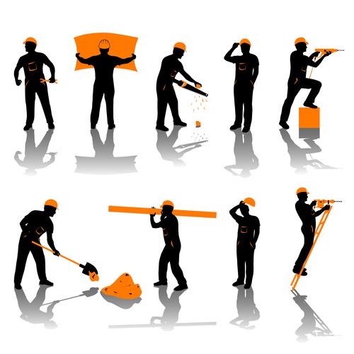 Builder worker silhouette vector