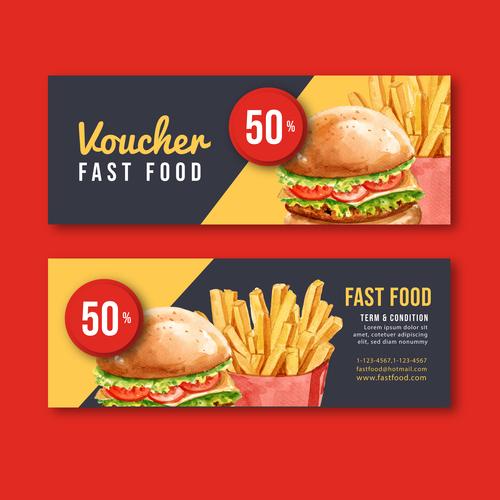 Burger coupon banner vector