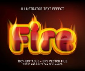 Burning fire editable font effect text vector