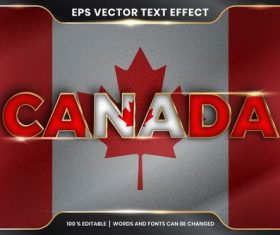 CANADA country name editable font effect text vector