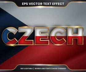 CZECH country name editable font effect text vector