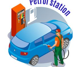 Cartoon Petrol station vector