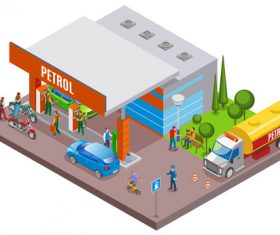 Cartoon gas station isometric concept vector