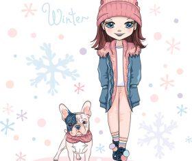 Cartoon girl and bulldog vector