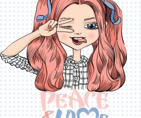 Cartoon girl portrait vector