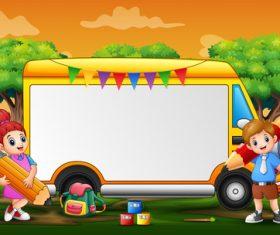 Children and school bus cartoon background vector