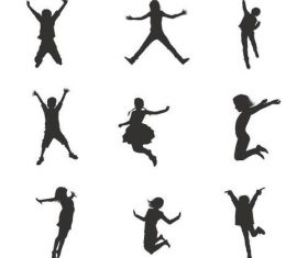 Children jumping silhouette vector