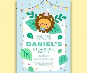 Childrens birthday invitation template vector