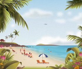 Crowd on the beach leisure vacation vector
