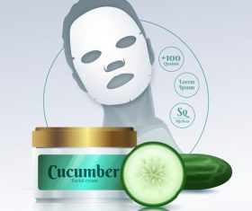 Cucumber facial mask advertising vector