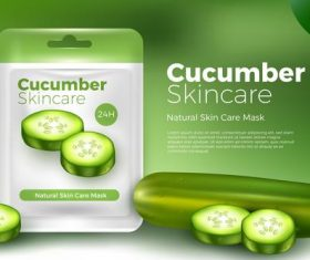 Cucumber skincare facial mask advertising vector