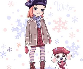 Cute girl and pet dog vector
