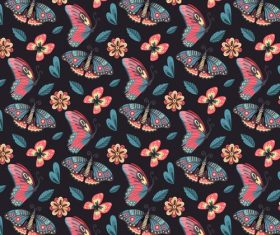 Dark butterfly background pattern vector