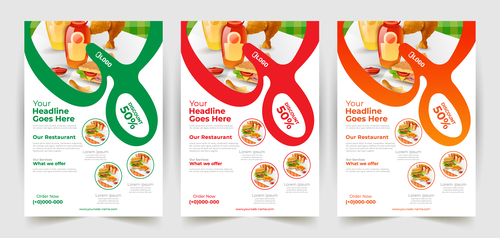 Delicious food poster banner vector