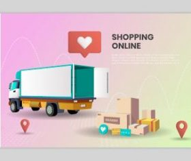Design online shopping landing page template vector