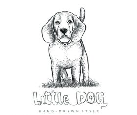 Dog hand drawing illustration black and white vector