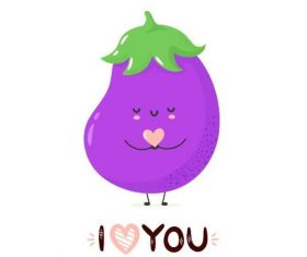 Eggplant cartoon smile vector