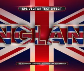England editable font effect text vector