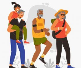Family outdoor exercise vector