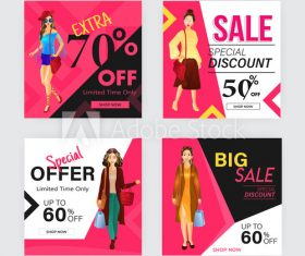 Feminine products sale poster design template vector