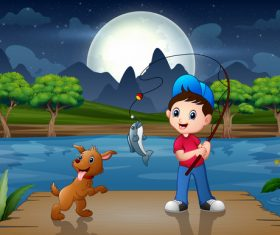 Fishing kids cartoon background vector