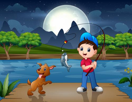 Fishing kids cartoon background vector