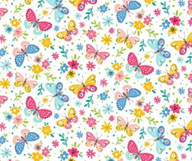 Flower background and butterfly pattern vector