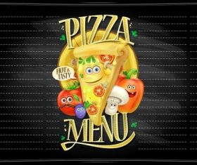 Funny pizza menu cartoon vector