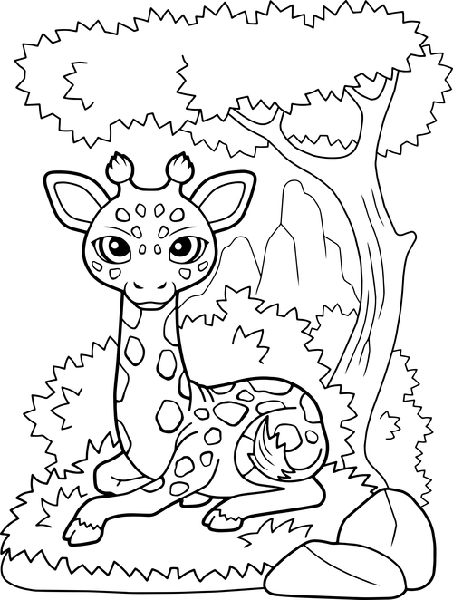 Giraffe and Nature Illustrations coloring book vector