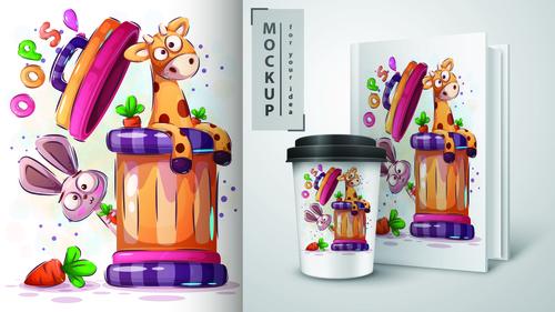 Giraffe and rabbit cartoon mockup print t shirt illustration vector