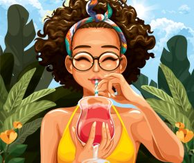 Girl drinking a drink vector