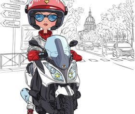 Girl riding a motorcycle vector