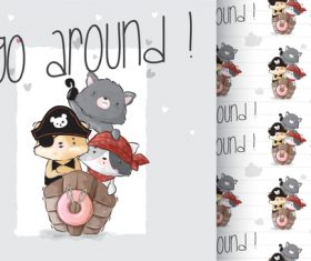 Go around cartoon animals background vector