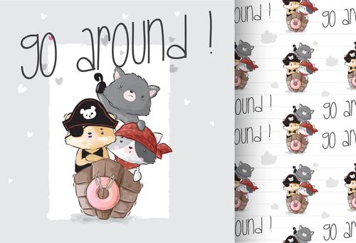 Go around cartoon animals background vector