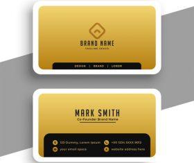 Golden business card design vector