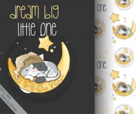 Good night cartoon animals background vector