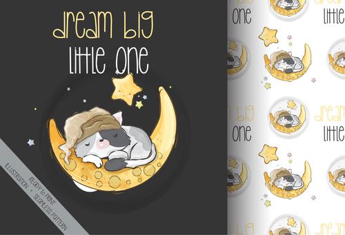 Good night cartoon animals background vector